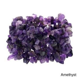 Glitzy Rocks Multi-row Gemstone Chip Stretch Bracelet