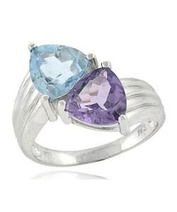 Glitzy Rocks Sterling Silver Amethyst and Blue Topaz Ring