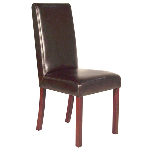 Monaco dark brown leather dining chair free shipping for Leather parsons dining chair