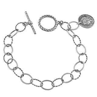 Fremada Oxidized Sterling Silver Lady Coin Charm Bracelet