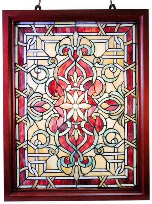 Shop Tiffany Style Classic Wood Framed Window Panel Free Shipping Today Overstock Com 1177193