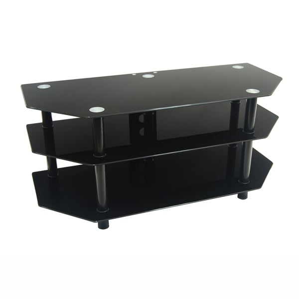 Shop Walker Edison 52 Inch 3 Level Black Tv Stand Free Shipping