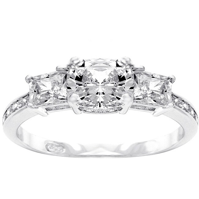 Sterling Silver 'Past, Present, Future' Cubic Zirconia Ring