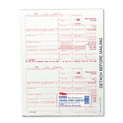 Report 1099 Tax Forms for Laser Printers - 50 Sets per Pack