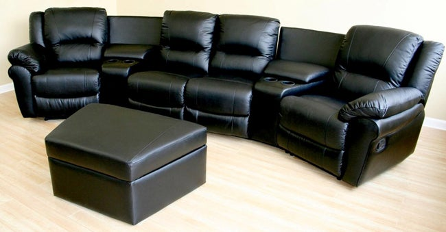 Krikorian 100 Percent Leather Theater Seating Sofa Free