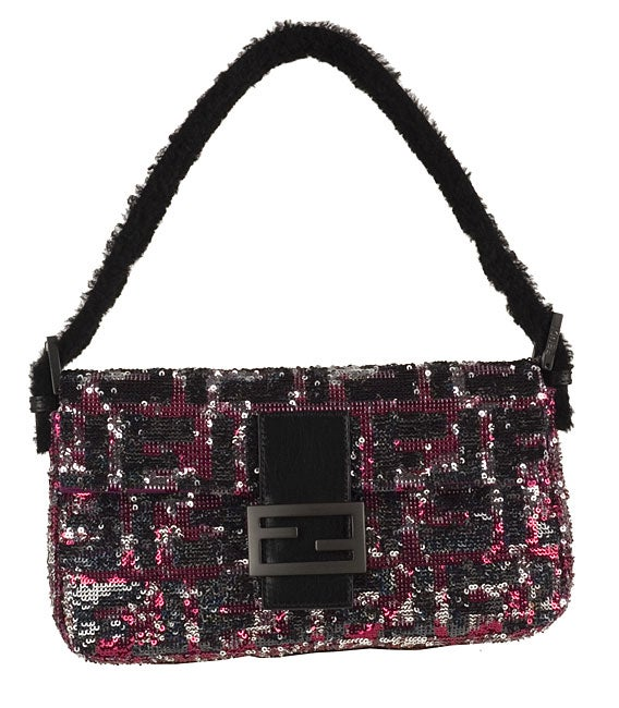 d38444a5b748 Shop Fendi Pink and Black Zucca Logo Sequin  Mama  Bag - Free Shipping  Today - Overstock - 2885621