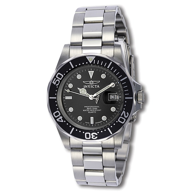 Invicta Men's Swiss Pro Diver Q 9307 Black Stainless-Steel Quartz Watch - Thumbnail 0