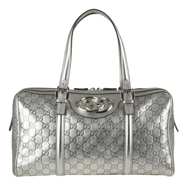 0d7316b31 Shop Gucci Silver 'Britt' Guccissima Boston Bag - Free Shipping Today -  Overstock - 2888074