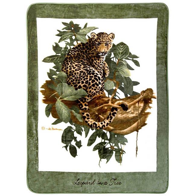 Hautman Brothers Leopard in Tree Raschel Blanket