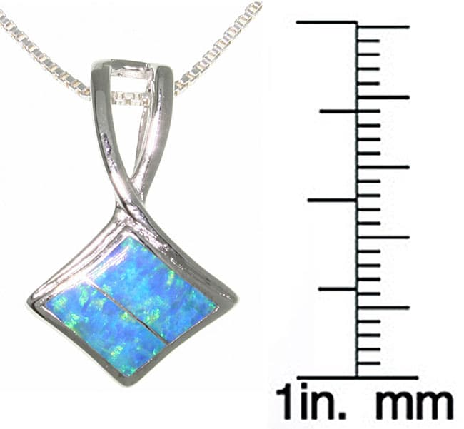 Carolina Glamour Collection Sterling Silver Fancy Slider Created Opal Necklace