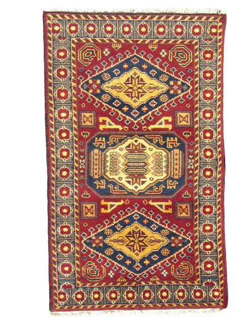 Indo Kazak Hand-knotted Red/Gray Rug (3' x 5') - Thumbnail 0