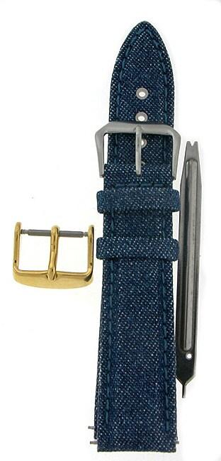 Blue Denim Genuine Leather Watch Strap