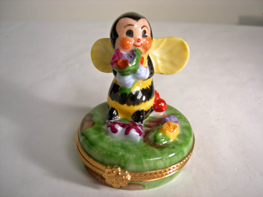 Limoges Hand-painted Honey Bee Keepsake Box