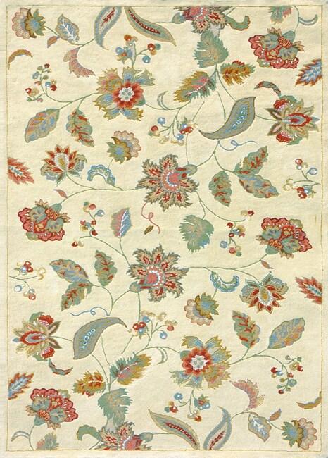 Hand-tufted Suri Beige Wool Rug (5' x 7'6)
