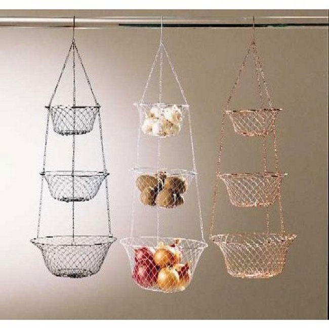 Metro 3 Tier Hanging Kitchen Basket In White Free Shipping On Orders Over 45 2964654