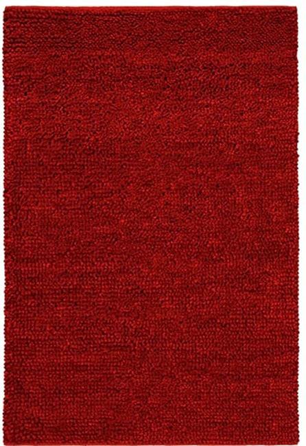 Hand-woven Shaggy Red Wool Rug (8' x 10'6)