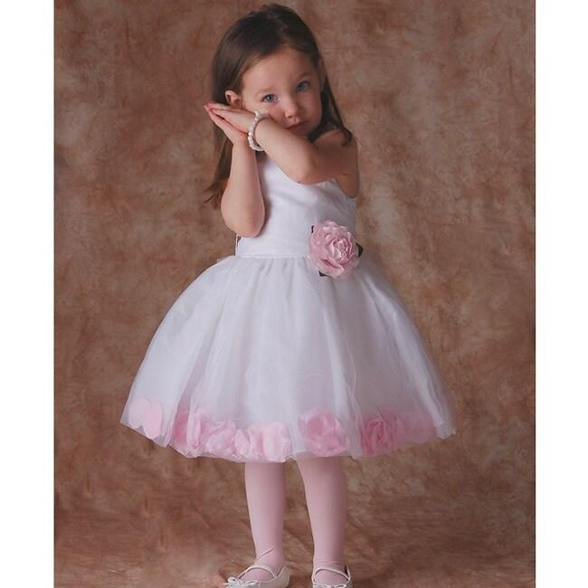 Sophia's Style White/ Pink Flower Girl Dress