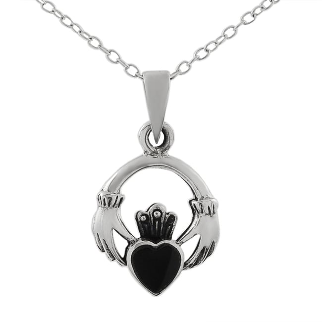 Journee Sterling Silver Black Onyx Claddagh Necklace