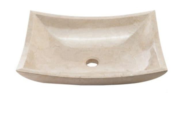 Shop Denovo Cream Marfil Deep Rectangular Stone Vessel