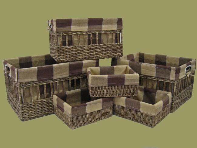 6-piece Abacca Cloth-lined Storage Basket Set