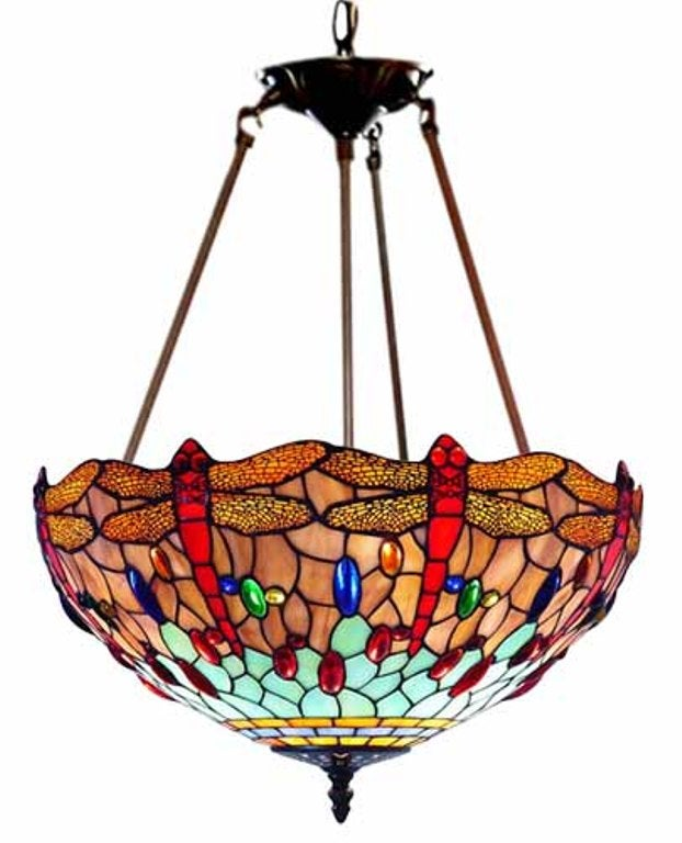 Tiffany Style Dragonfly Stained Glass Chandelier Free