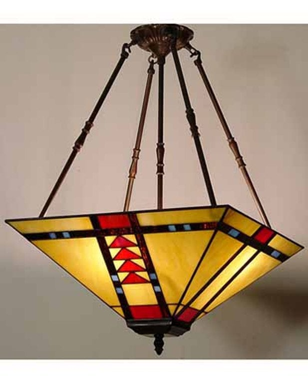 Tiffanystyle Stained Glass Mission Chandelier Lamp Free – Mission Style Chandelier Lighting