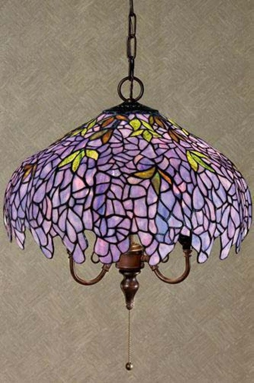 Tiffany Style Purple Stained Glass Hanging Lamp Free Shipping Today Overstock Com 11150569