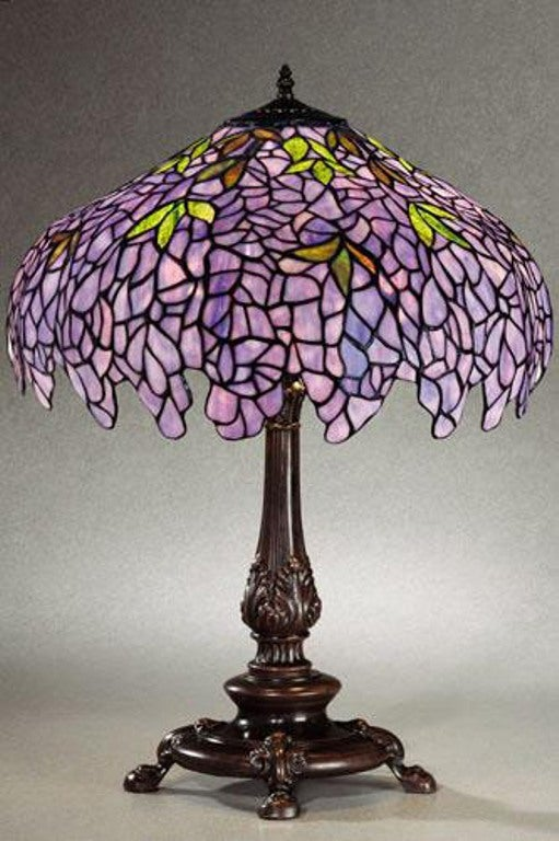 Tiffany Style Wisteria Stained Glass Table Lamp Free