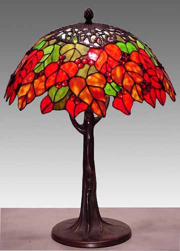 Tiffany Style Stained Glass Maple Leaf Table Lamp Free