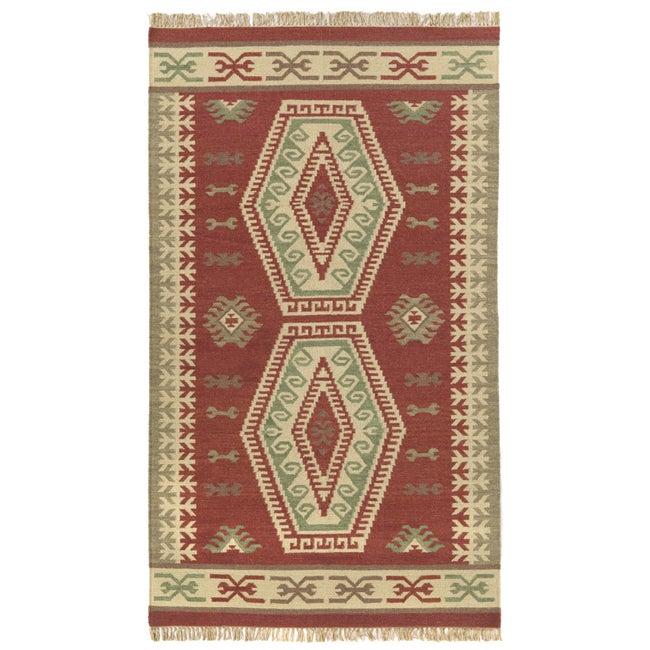 Handmade Elite Flat-woven Wool Rug (5' x 8')