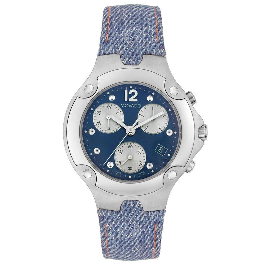 0f068e5a1d8 Shop Movado Men s Sports Edition Denim Strap Watch - Free Shipping Today -  Overstock - 3005919