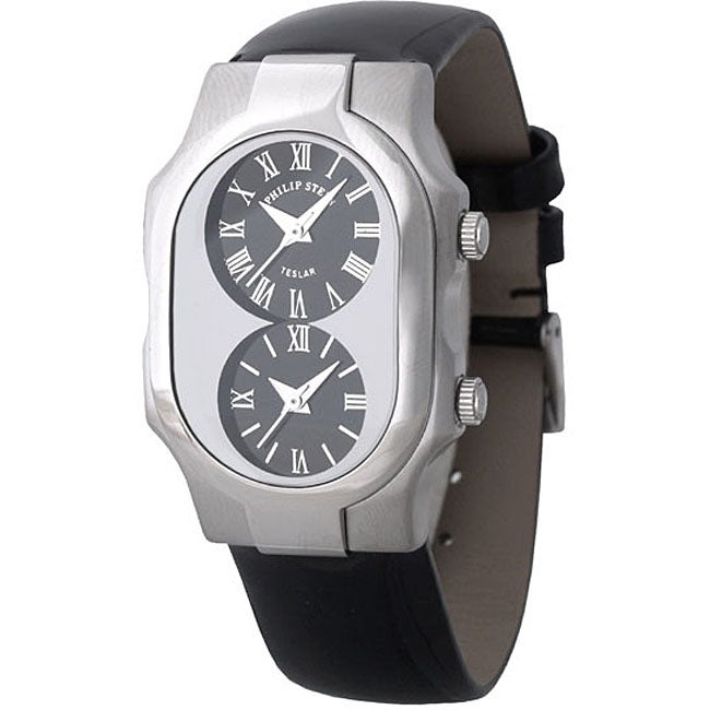 Philip stein teslar women 39 s dual time watch with black patent leather strap free shipping for Philip stein watches