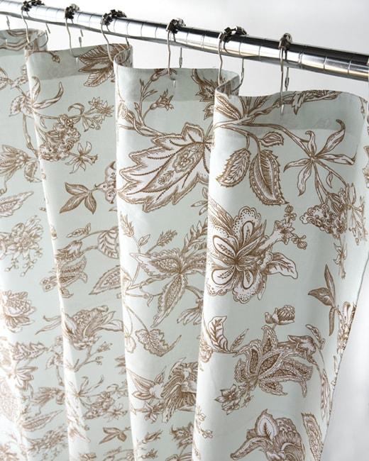 Blue And Tan Jacobean Canvas Shower Curtain