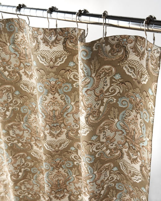 Royale Tan And Aqua Damask Shower Curtain Free Shipping