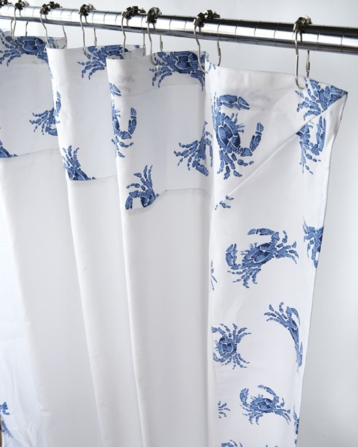 Shop Blue And White Crab Border Canvas Shower Curtain