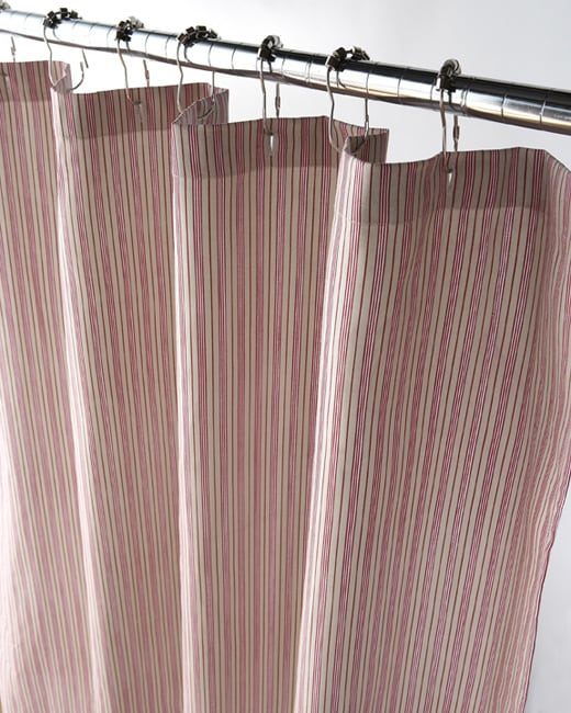 Red And Khaki Thin Stripe Canvas Shower Curtain