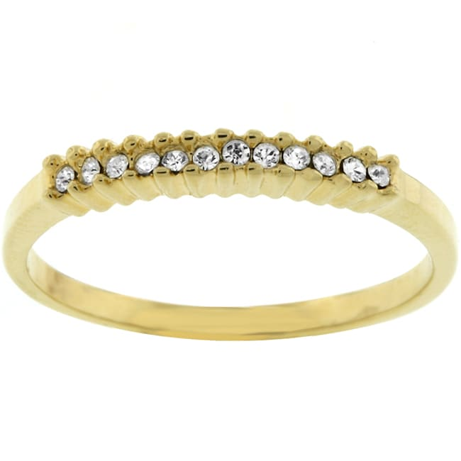 Kate Bissett Goldtone Small Round Clear CZ Ring