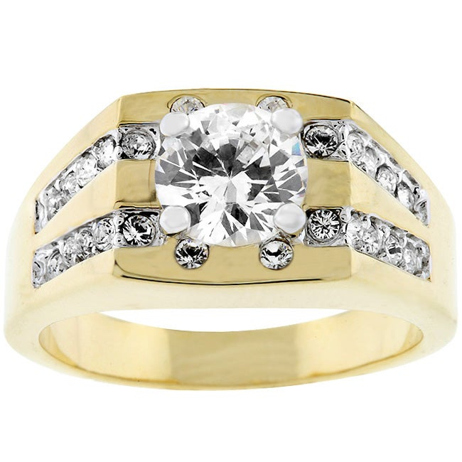 Men's Goldtone Square Top CZ Ring - Thumbnail 0