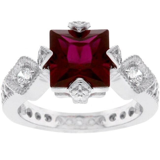 Sterling Silver Princess-cut Red Fashion CZ Ring