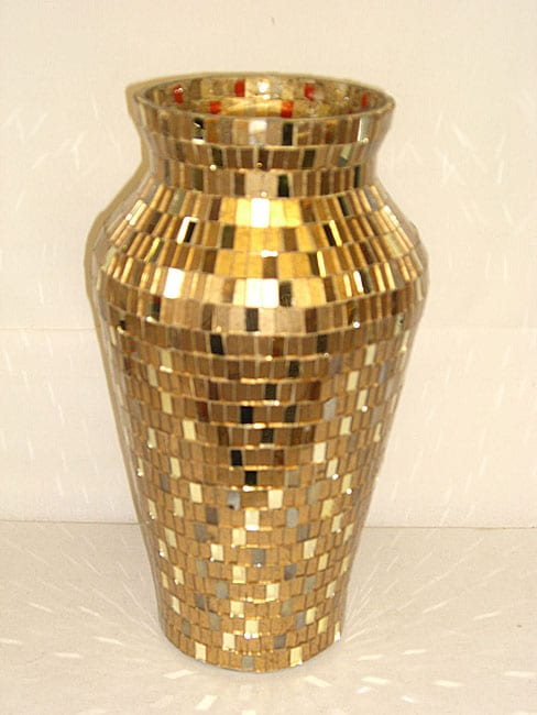 Round Gold And Mirror Mosaic Vase Set Of 6 Free