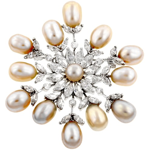 Kate Bissett Silvertone Cubic Zirconia Snowflake Brooch Pin with Freshwater Pearls
