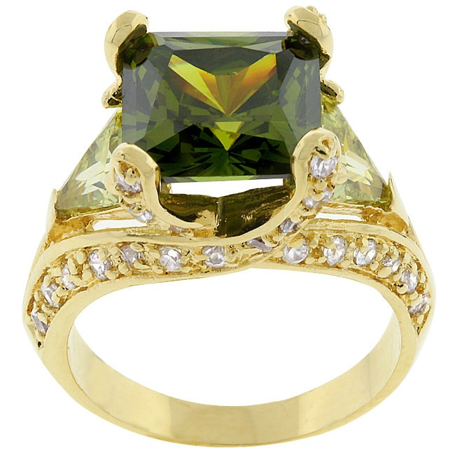Kate Bissett Goldtone Princess-cut Cubic Zirconia Cocktail Ring
