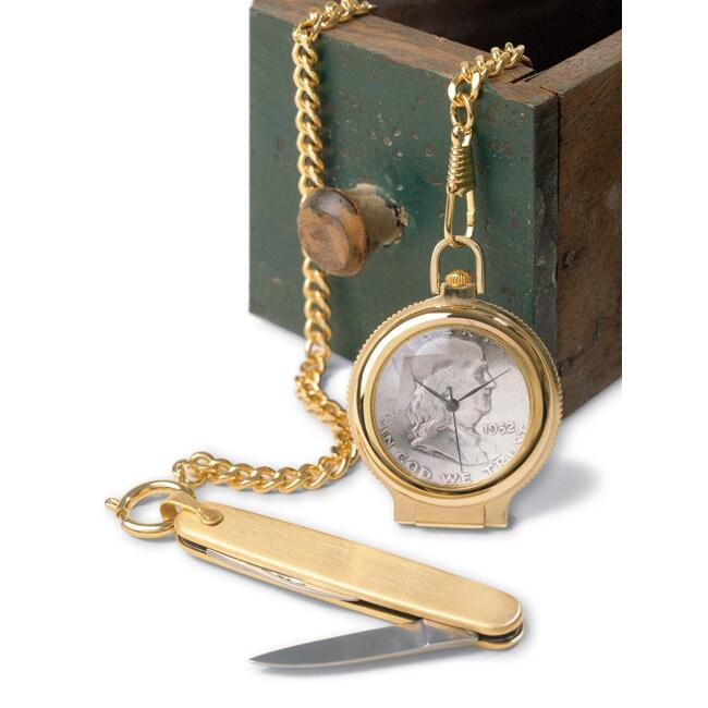 American Coin Treasures Franklin Silver Half Dollar Pocket Watch/ Knife