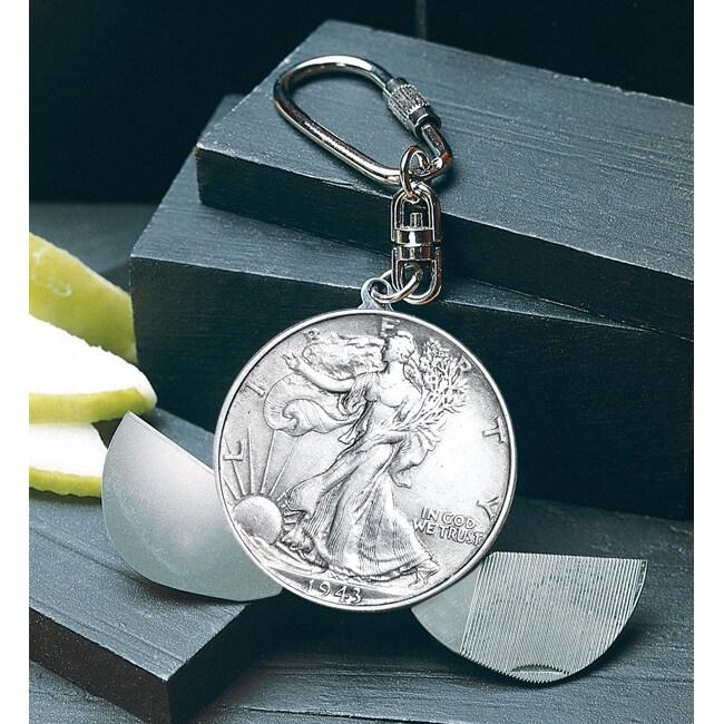 American Coin Treasures Walking Liberty Half Dollar Pocket Knife/ Key Ring
