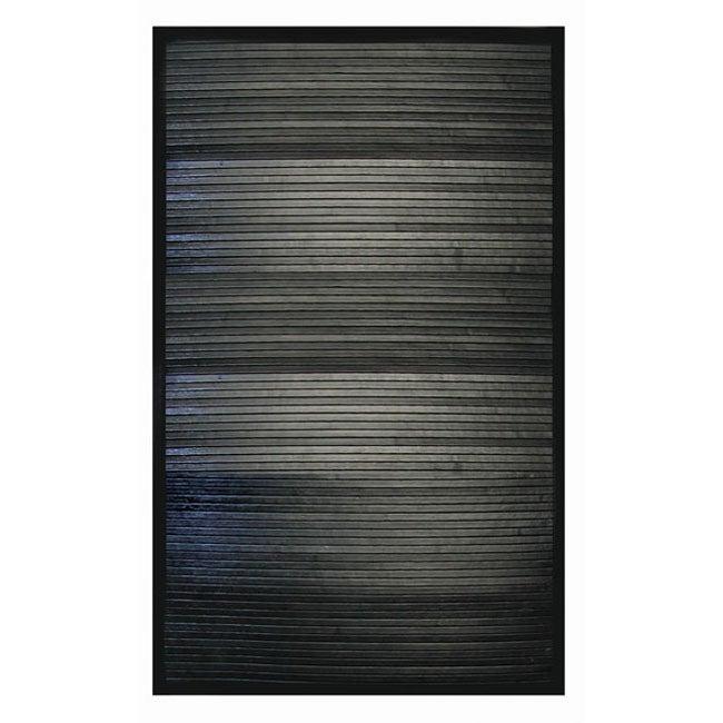 Handmade Black Rayon from Bamboo Rug (5' x 7')