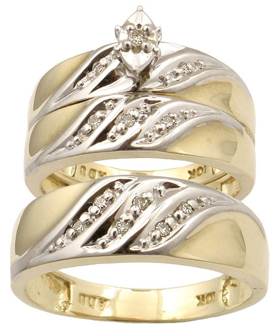 10k gold 18ct tdw diamond trio wedding ring set - Overstock Wedding Rings