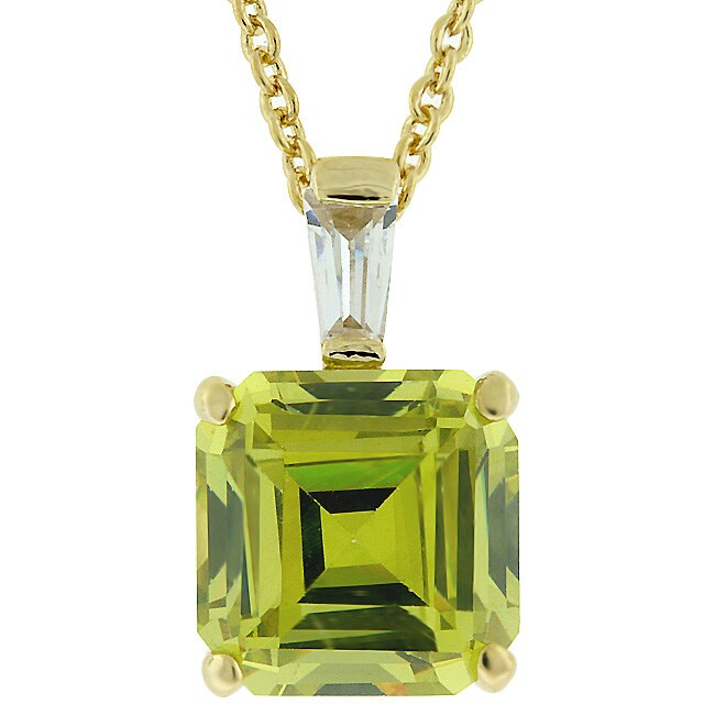 Kate Bissett Goldtone Princess-cut Olive CZ Fashion Necklace