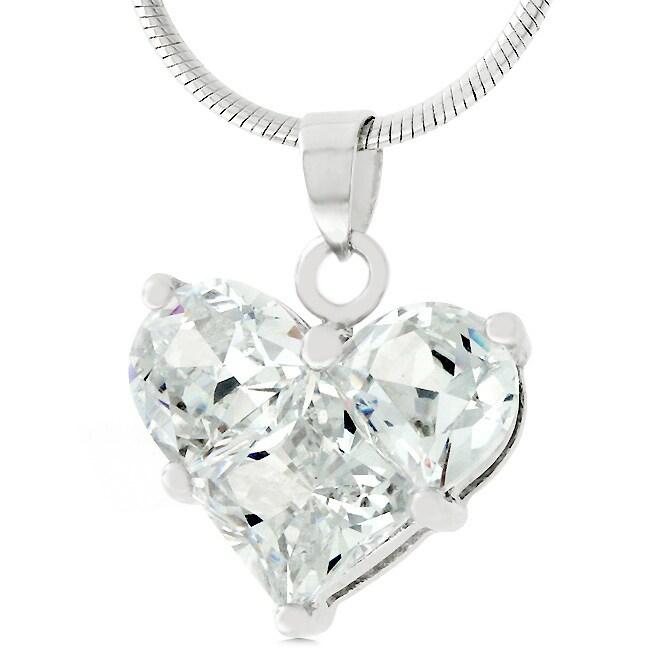 Silvertone Cubic Zirconia Heart Necklace