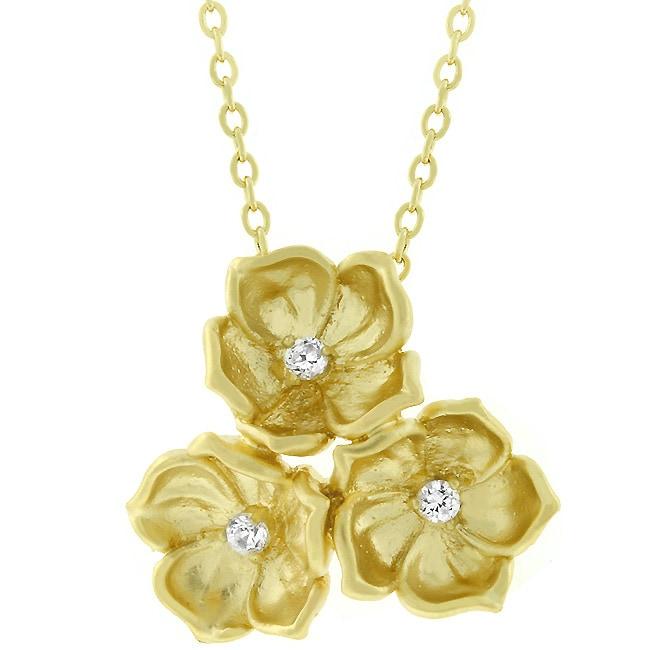Kate Bissett Matte Goldtone Three-flower CZ Necklace