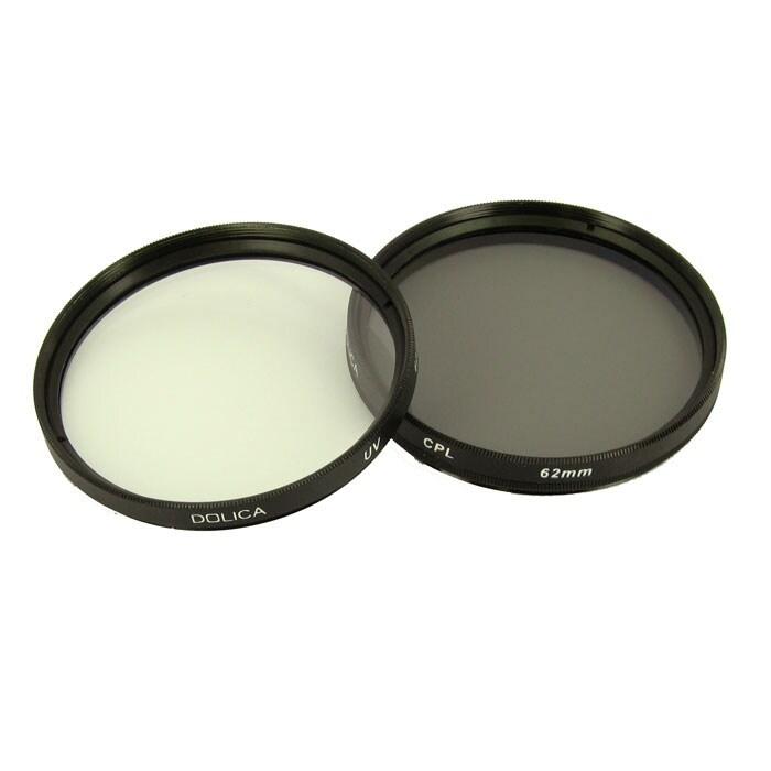 Dolica 62mm UV and CPL Camera Lens Filter Kit